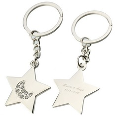 Personalized Stars Zinc Alloy Keychains (Set of 6) (20 letters or less)