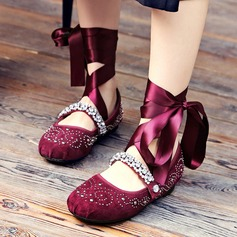 Women's Real Leather Flat Heel Pumps Closed Toe With Rhinestone Braided Strap shoes