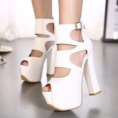Femmes Similicuir Talon bottier Sandales Plateforme À bout ouvert avec Ouvertes chaussures