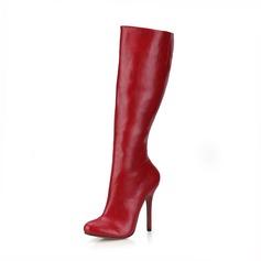 Vrouwen Kunstleer Stiletto Heel Pumps Closed Toe Laarzen Knie Lengte Laarzen schoenen