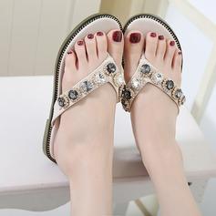 Women's Leatherette Flat Heel Flats Sandals Beach Wedding Shoes With Rhinestone Sequin