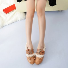Women's Leatherette Flat Heel Flats With Bowknot Buckle Fur shoes