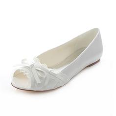 Frauen Satin Flascher Absatz Flache Schuhe Peep Toe mit Bowknot