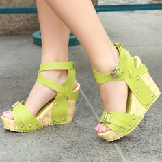 Women's Leatherette Wedge Heel Sandals Wedges Peep Toe With Buckle shoes