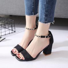 Femmes Suède Talon bottier Sandales Escarpins À bout ouvert Escarpins avec Boucle Chaîne chaussures