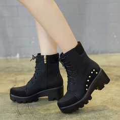 Women's Suede Chunky Heel Boots Mid-Calf Boots With Satin Flower Lace-up shoes