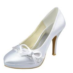 Women's Satin Stiletto Heel Closed Toe Platform Pumps With Bowknot Ruffles