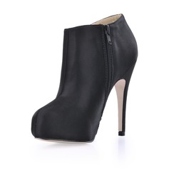 Silk Stiletto Heel Closed Toe Platform Ankle Boots