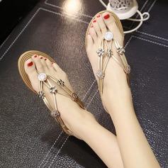 Women's Leatherette Flat Heel Sandals Peep Toe Slingbacks With Rhinestone Beading Elastic Band shoes
