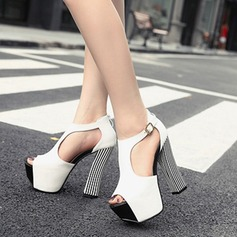 Women's Leatherette Chunky Heel Sandals Platform Peep Toe With Braided Strap shoes