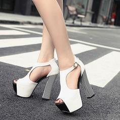 Femmes Similicuir Talon bottier Sandales Plateforme À bout ouvert avec Lanière tressé chaussures