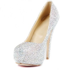 Rubber Stiletto Heel Pumps Platform Closed Toe With Rhinestone shoes