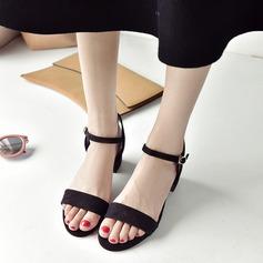 Femmes Suède Talon bottier Sandales Escarpins À bout ouvert Escarpins avec Boucle chaussures