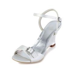 Women's Satin Wedge Heel Peep Toe Sandals Slingbacks With Buckle Rhinestone