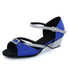 Kids' Satin Real Leather Sandals Flats Latin With Rhinestone Buckle Dance Shoes