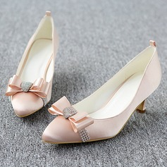 Women's Satin Stiletto Heel Pumps With Bowknot