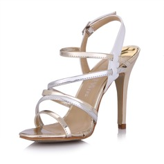 Patent Leather Stiletto Heel Sandals Slingbacks With Buckle shoes