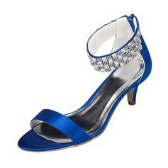 Women's Satin Kitten Heel Sandals With Rhinestone