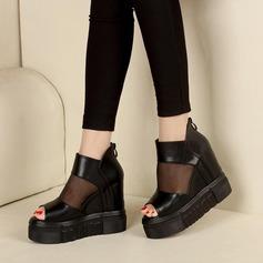 Kvinnor Konstläder Tyg Platta Skor / Fritidsskor Peep Toe med Zipper skor