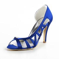 Vrouwen Satijn Stiletto Heel Peep Toe Sandalen met Hol