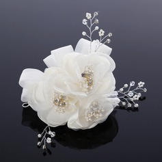 Lovely Pearl/Net Yarn/Chiffon Hair Flowers