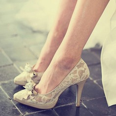 Femmes Dentelle Vrai cuir Talon stiletto Bout fermé Plateforme Beach Wedding Shoes avec Strass Cravate ruban
