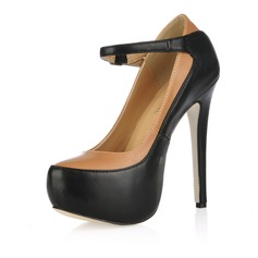 Leatherette Stiletto Heel Pumps Platform Closed Toe With Buckle shoes
