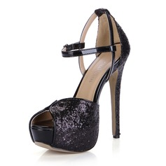 Patent Leather Sparkling Glitter Stiletto Heel Sandals Platform Peep Toe With Buckle shoes