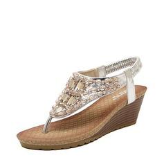 Femmes Similicuir Talon compensé Sandales Plateforme Compensée À bout ouvert avec Strass Élastique chaussures