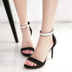 Donna Camoscio Tacco a spillo Sandalo Stiletto Punta aperta Con cinturino con Paillette Cerniera scarpe