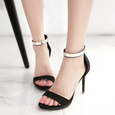 Women's Suede Stiletto Heel Sandals Pumps Peep Toe Slingbacks With Sequin Zipper shoes