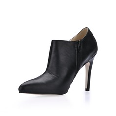 Leatherette Stiletto Heel Closed Toe Ankle Boots
