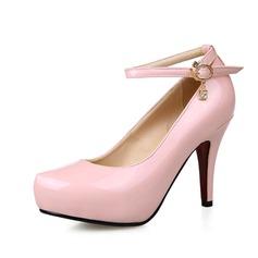 Pelle verniciata Tacchi a cono Stiletto Piattaforma Punta chiusa con Strass Paillette scarpe