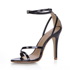 Patent Leather Stiletto Heel Sandals With Buckle shoes