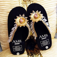 Women's Cloth Flat Heel Platform Flip-Flops Slippers With Rhinestone Tassel Flower shoes