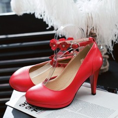 Women's Leatherette Stiletto Heel Pumps Closed Toe With Satin Flower Buckle shoes