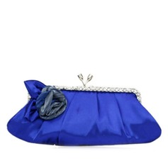 Elegant Satin With Flower/Rhinestone Clutches
