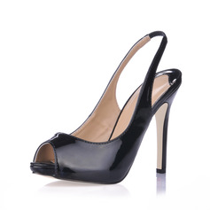 Patent Leather Stiletto Heel Sandals Peep Toe Slingbacks shoes