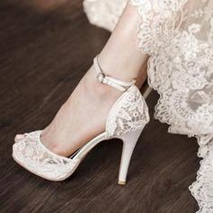 Femmes Dentelle Talon stiletto À bout ouvert Plateforme Sandales Beach Wedding Shoes