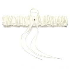 Attractive Satin With Ribbons Pearl Wedding Garters