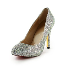 Rubber Cone Heel Closed Toe Platform Pumps With Rhinestone