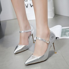 Women's PU Stiletto Heel Pumps Closed Toe With Buckle shoes