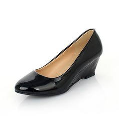 Patent Leather Wedge Heel Pumps Peep Toe shoes