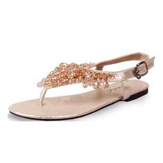 Kvinnor Konstläder Flat Heel Sandaler Slingbacks med Beading skor