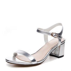 Women's Real Leather Chunky Heel Sandals Beach Wedding Shoes With Buckle