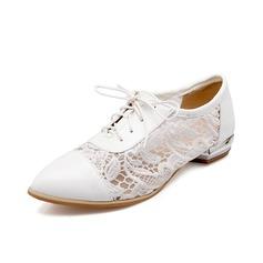 Suni deri Lace Düz Topuk Daireler Kapalı Toe ayakkabı