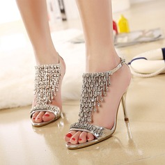 Women's Leatherette Stiletto Heel Peep Toe Pumps Sandals With Rhinestone