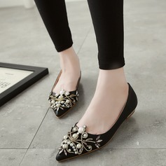 Women's Leatherette Flat Heel Closed Toe With Crystal Imitation Pearl shoes