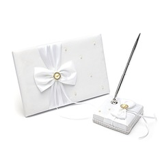 Splendor Satin Ribbons/Bow/Sash Guestbook/Pen Set