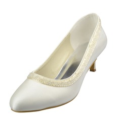 Women's Satin Kitten Heel Closed Toe Pumps With Imitation Pearl